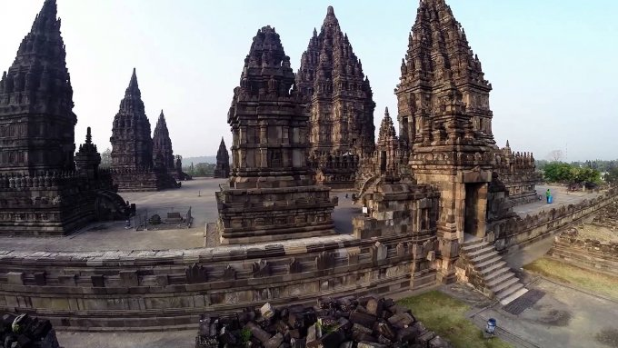 prambanan temple aerial video