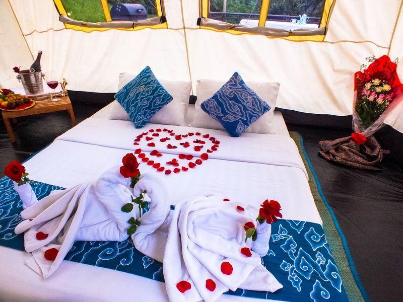 Glamping tent indoor Dusun Bambu