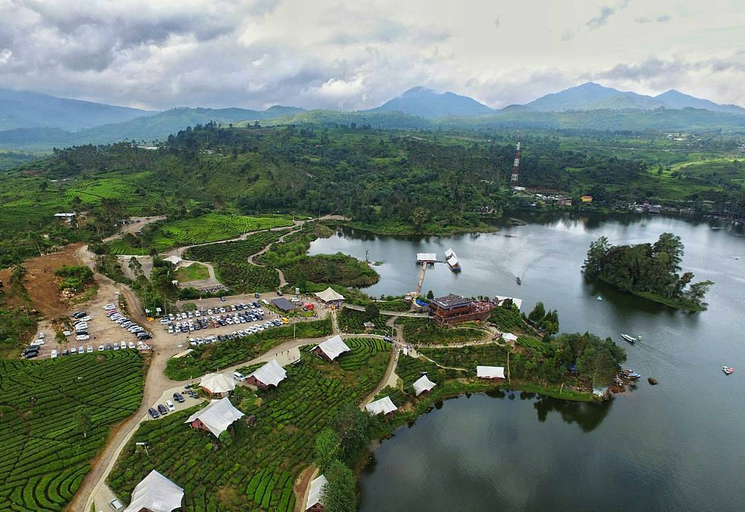 Aerial View Glamping Lakeside Rancabali